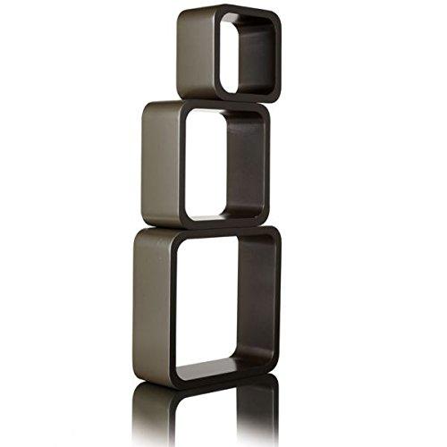 mojoliving MOJO 3er Set Wandregal Retro Vintage Cubes CD DVD Lounge Design Regal Cuby Sel (BRAUN 3x Quadratisch M87)