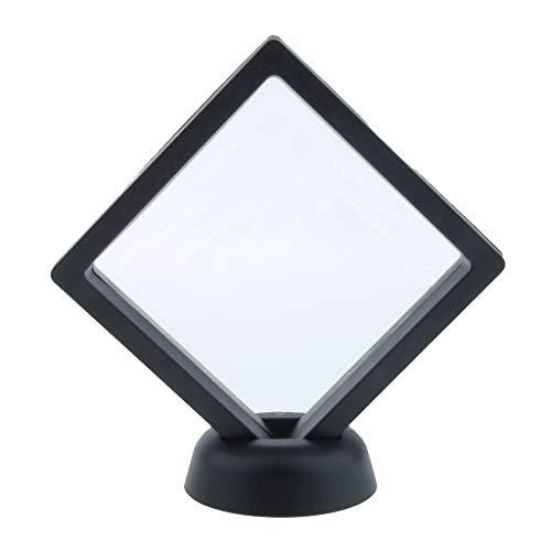 Non-brand 3D Schwimmende Schmuck Display Rahmen Fall Box Münzenständer Rack Halter - Schwarz 8.8x8.8cm -
