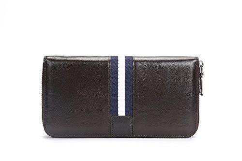 Leder Herren Brieftasche, große Kapazität lässige Leder, langer Reißverschluss Tasche, bräunlich schwarz Brownish black
