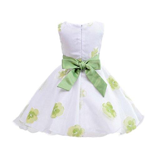 Kleid Mädchen Sommer URSING Kinder Baby Mädchen Tutu-Kleid Prinzessin Blumen Drucken Bogen ärmellose Dresss Schöne Partykleid Sommerkleid Mädchenkleider Festliche Kindermode (100CM 1.5-2Jahre, Grün)