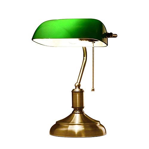 información sobre el productoTipo: lámpara de mesa retro/lámpara de cabeceraModo de control: Tire del interruptor de líneaTamaño: los 23 * 19 * 38.5 CMMaterial: hierro, vidrioColor del metal: bronceColor de cristal: verdeMaterial de sombreado: vidrio...