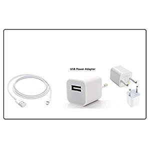 AINE Fast Charging Adapter with USB Cable Compatible for Apple Iphone 5/5s/6/6s/7/7 Plus (White)