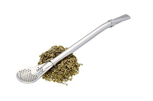 Bombilla von CASADAMIA | Premium Edelstahl Trinkhalm & Löffel für MATE-Tee & Yerba Mate | Trinkrohr mit praktischem Sieb | Strohhalm in Silber | Straw & Spoon für - Tee-sieb Bar