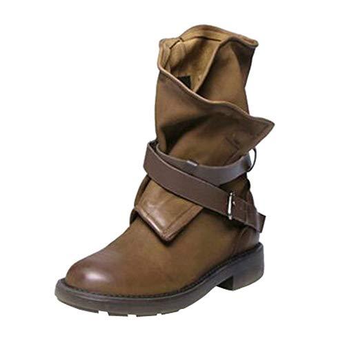 ♥‿♥ Loveso Mode Schuhe Damen,Vintage Stiefeletten Damen Schnallen Reitstiefel Kunstleder Mittleres Kalb Motorrad-Boots -