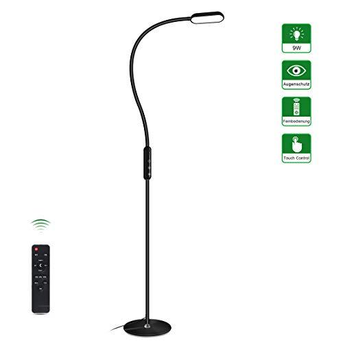 Stehlampe LED Dimmbar Tonffi 9W Stehleuchte mit Fernbedingung, Touch Control, 5 Farbtemperaturen, 5 Helligkeitsstufen für Schlafzimmer, Wohnzimmer und Büro