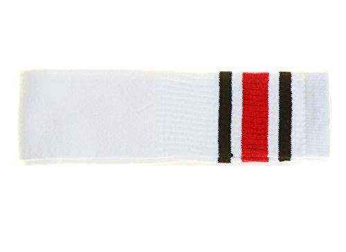 Choobes (Unisex 30 Zoll über dem Knie White Tube Socken mit schwarzen/roten ()