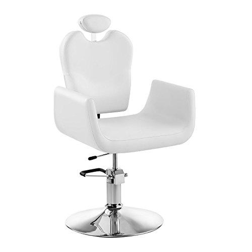 Physa - Friseurstuhl Kosmetikstuhl Livorno White (45 - 55 cm Sitzhöhe, 540 x 470 mm Sitzfläche, ECO-Leder, Stahlgestell, 360° drehbar) Weiß -