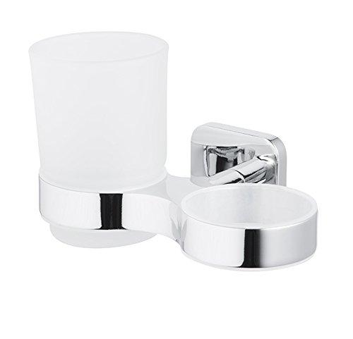 Bisk Forte Gamme Easy Fit Vis ou Colle Double Gobelet et Support en Aluminium, Zinc et Acier Inoxydable, Chrome, 15.5 x 9 x 9.5 cm