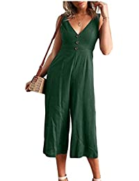4e88392a5ebb security Women s Solid Color Sleeveless Deep V-Neck Button Long Pants Wide  Leg Jumpsuit