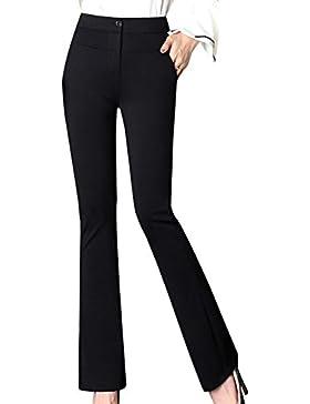 LaoZanA Mujer Pantalones Casual Bootcut Slim Fit Pantalones Acampanados Cómodo/Negro - L