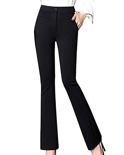 LaoZanA Mujer Pantalones Casual Bootcut Slim Fit Pantalones Acampanados Cómodo/Negro - M