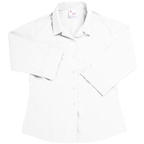 Twin Pack Girls Ziggys Blouses 3/4 Sleeve Revere Collar School Shirt White 28