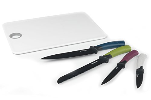 Salter BW04384 Colour Collection 4 Piece Kitchen Knife Set with Chopping Board