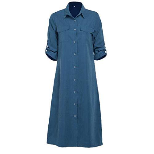 LOPILY Damen Lang Kleider Lose Knopfleiste Tunika Blusenkleider mit Taschen Einfarbig Einfach Bequem Freizeit Frauenkleid Sommerkleider Hemdkleid(Blau,EU-46/CN-5XL)