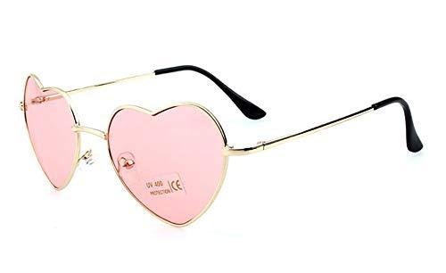 KONGYUER Sonnenbrillen, Brillen,Transparente Rosafarbene Damen-Herz-Geformte Sonnenbrille Metall Frauen Fashion Randlose Brille Männer