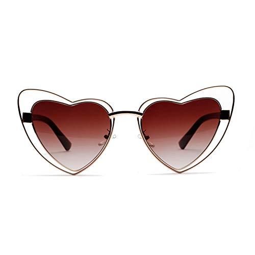 Wenkang Rosa herzförmige Sonnenbrille-Frauen-Metallrahmen-Herz-Sonnenbrille für Frauen-weibliche Geschenk-Partei,Gold mit Braun