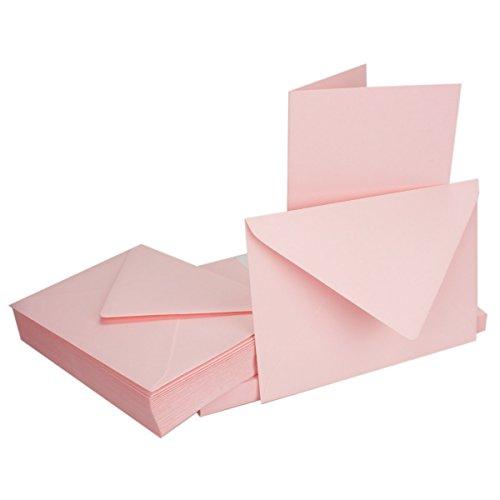 DIN B6 Faltkarten SET mit Umschlägen | Rosa | 50 Sets | 115 x 170 mm | ideal für Einladungskarten, Hochzeit, Taufe, Kommunion, Konfirmation | formstabil | Marke: FarbenFroh®