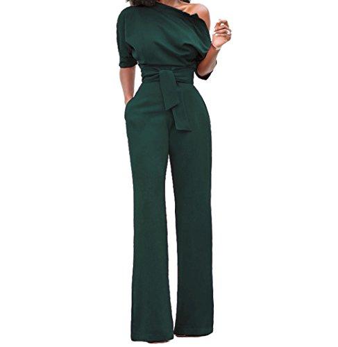Voghtic Damen Elegante Halbe Hülse weg von den Schulter Overalls Hoher Taillenspielanzug mit Gurt- Gr. S, Grün
