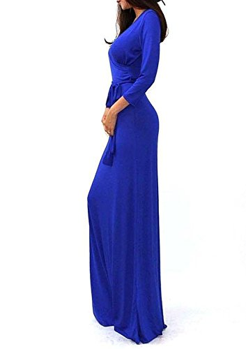 Minetom Femmes Élégantes Robe Maxi Manche Longue Robe De Soirée V-Cou Cocktail Robe De Fête Bleu