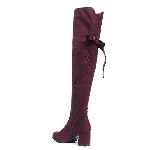 Ideal Shoes - Cuissardes effet daim avec rubans velours Marylin Bordeaux