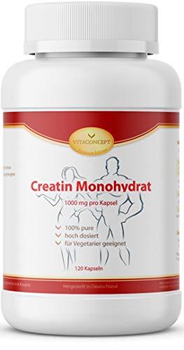 Creatin Monohydrat - 1000 mg pro Kapsel - 120 Kapseln - Muskelaufbau & enormer Kraftzuwachs - Muskeldefinition und Leistungssteigerung - optimale Muskeldefinition & Muskelaufbau - Kreatin Made in Germany - VITACONCEPT