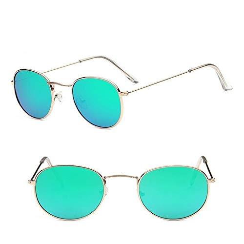Onizah - Runde Sonnenbrille Frauen-Marken-Designer Damen-Sonnenbrillen Legierung Spiegel-Sonnenbrille weibliche Óculos de sol [Grüne]