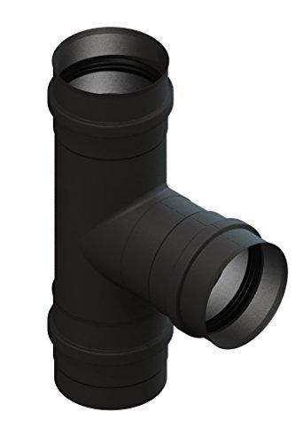 Pelletrohr T-Anschluss 90° mit abnehmbarer Kondensatschale, Ø 80mm, Edelstahl schwarz lackiert