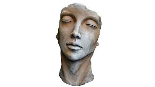 Büste Frauen Gesicht Rosteffekt, Büste, Skulptur aus Steinguss