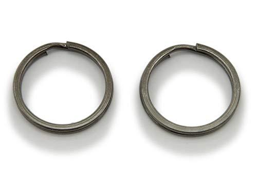 WEBandBUY 2 Schlüsselringe/Split Rings 25mm Durchmesser Farbe Schwarz/Gunmetal