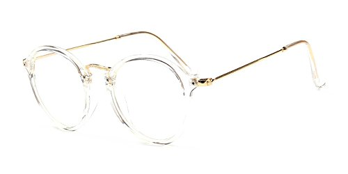 BOZEVON Klare Linse Transparente Gläser - Runde Ultradünne Metallrahmen Lesebrille Dekor Retro Brillen Brillen Für Damen & Herren Transparent (Cateye)