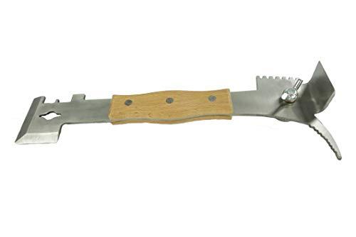 APIFORMES Multi Werkzeug - Wabenheber, Abspergitterkratzer, Nutenreiniger, Hammer mit Nagelzieher und vieles mehr aus Edelstahl mit Holzgriff