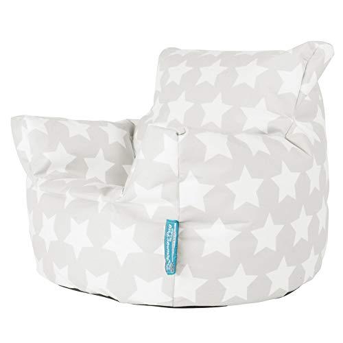 Lounge Pug®, Puff Sillón para niños, Estampado para Niños - Estrellas Gris