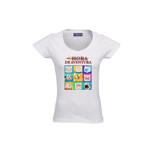 "Camiseta Hora de Aventuras ""Caretos"" chica manga corta (Talla: XXL Chica manga corta Ancho/largo[51cm/66cm])"