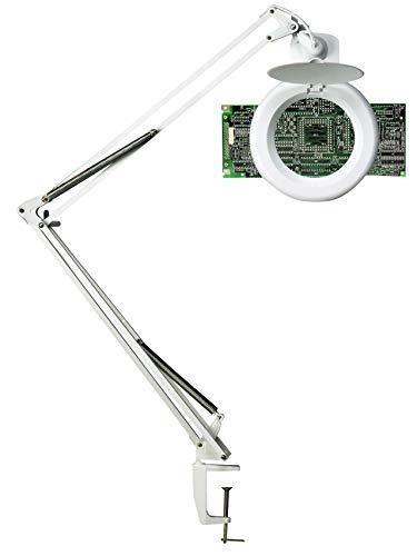 UNILUX 400108073 Zoom LED weiß Tageslicht Lupenlampe für Hobby und Beruf Lupen-Leuchte mit Tisch-Klemme mit 3 Dioptrien in 10,5 cm großer Lupen-Linse [Energieklasse A+] -