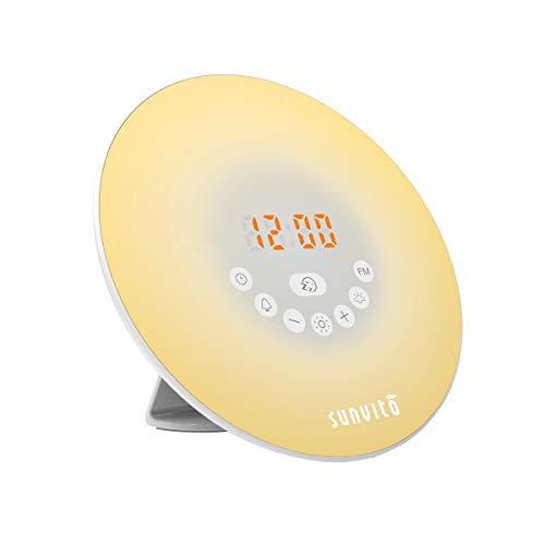 Sunvito Despertador de Luz Salida del Sol Reloj de Alarma 7 Colores Noche Luz con Sonidos Naturales,Función de Dormitar, Radio FM,Control Táctil y Cargador USB