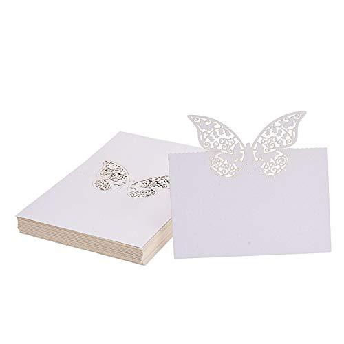 Flowow 50 bianco farfalla scheda laser taglio tavolo intagliato nome luogo carte cartolina segnaposto segnatavolo bomboniera per guest compleanno matrimonio natale segna segnaposti nozze partito favor
