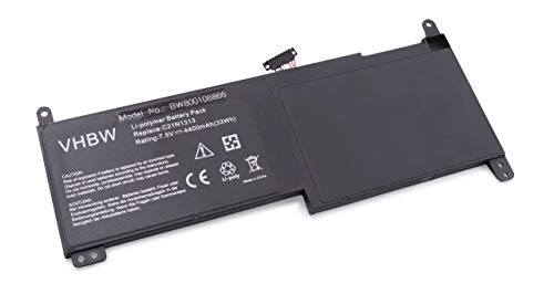 vhbw Li-Polymer Batterie 4400mAh (7.5V) pour Notebook, Ordinateur Portable ASUS Transformer Book Trio TX201, Trio TX201LA comme C21-N1313, C21N1313.