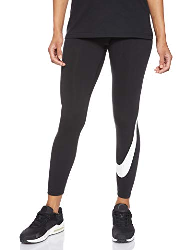 nike legasee legging swoosh leggings, nero (black/white 011), 40 (taglia produttore: small) donna