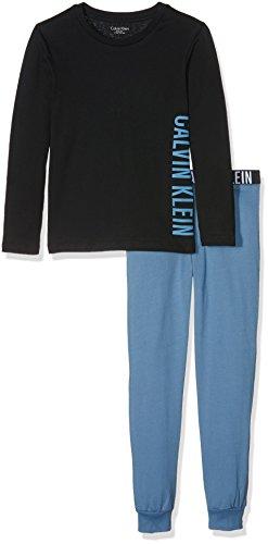 Calvin Klein Jungen Zweiteiliger Schlafanzug Knit PJ Set L/S, Blau (Black Lg/Copen Blue M11), 134 (8-10) -