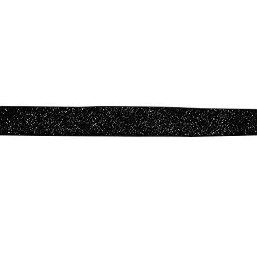 Healifty 30 yards glitter elastische stretch samt bänder für stirnbänder haarband kleidung diy (schwarz + 1,5 cm)