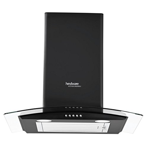 Hindware 60cm 1100 m3/hr Chimney (Sabina Black 60, 1 Baffle Filter, Black)