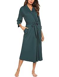 Unibelle Damen Morgenmantel aus Baumwolle 3/4 Ärmeln Bademantel Nachtwäsche Kimono Saunamantel mit Tiefer V-Ausschnitt Schlafanzug S-XXL