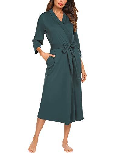 UNibelle Damen Morgenmantel Lange Ärmel Bademantel Kimono Baumwolle Saunamantel V-Ausschnitt Nachtwäsche M A-dunkelgrün