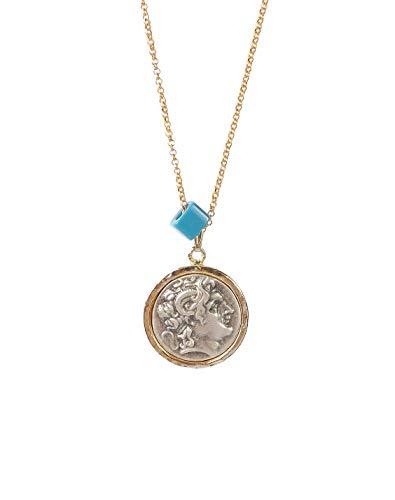 """Remi Bijou Halskette \'Antike Römische Münze\"""" Griechenland Rund mit blauem Stein, Auge Nazar Boncuk - Gold Farbe"""