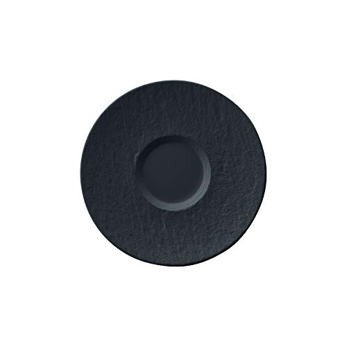 Villeroy & Boch Manufacture Rock Milchkaffee-Untertasse, 17,3 cm, Premium Porzellan, Schwarz