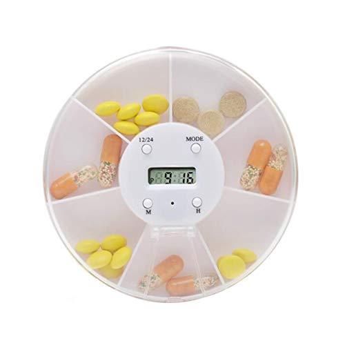 NAYUKY Round Weekly 7-Tages-Tablettenbehälter Alarm Rotation Spender Vitamine Storage Box mit Timer