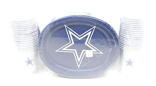 Dallas Cowboy Fußballspieltag/Heckklappe, stabil, oval, 50 Stück + passende Kunststoffbecher, 36 Stück