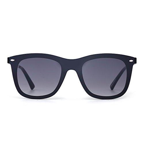 Sonnenbrille Gespiegelt Ein Stück Linsen Rahmenlos Niet Männer Frau UV400(Schwarz/Grau)
