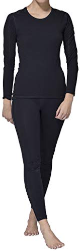 Thermo Unterwäsche Set für Damen lang - Damen Thermo Funktionswäsche Skiunterwäsche Set (Shirt lang + Hose lang) schwarz (S)