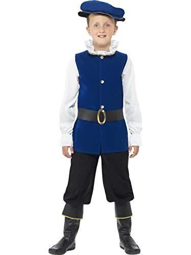 Fancy Ole - Jungen Boy Kinder Lord Tudor Kostüm mit Oberteil, Hose, Gürtel, Hut und Stiefelüberzieher, perfekt für Karneval, Fasching und Fastnacht, 122-134, Blau